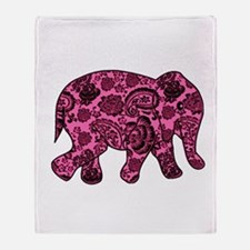 Pink Paisley Elephant Throw Blanket