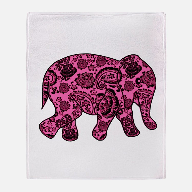 Pink Paisley Elephant Throw Blanket