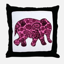 Pink Paisley Elephant Throw Pillow