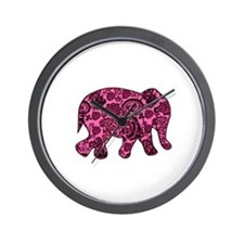 Pink Paisley Elephant Wall Clock