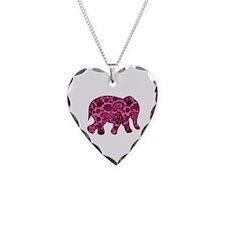 Pink Paisley Elephant Necklace