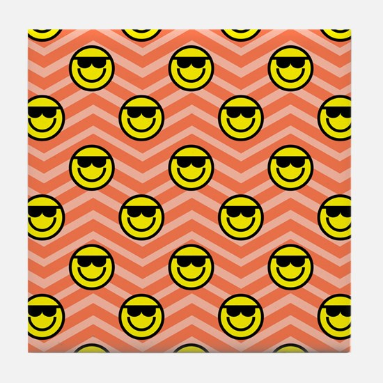 Sunglasses Happy Face on Coral Orange Chevron Tile