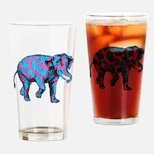 Pink Blue Paisley Elephant Drinking Glass