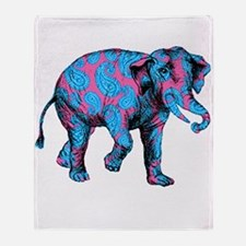 Pink Blue Paisley Elephant Throw Blanket