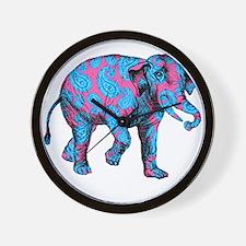 Pink Blue Paisley Elephant Wall Clock