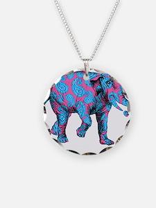 Pink Blue Paisley Elephant Necklace