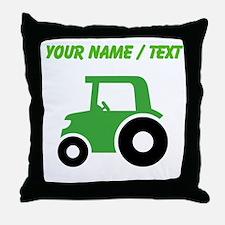 Custom Green Tractor Throw Pillow