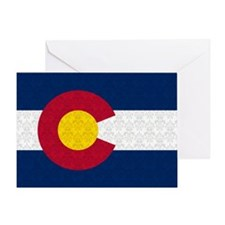 Colorado Flag Damask Pattern Greeting Cards