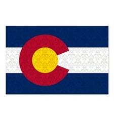 Colorado Flag Damask Pattern Postcards (Package of