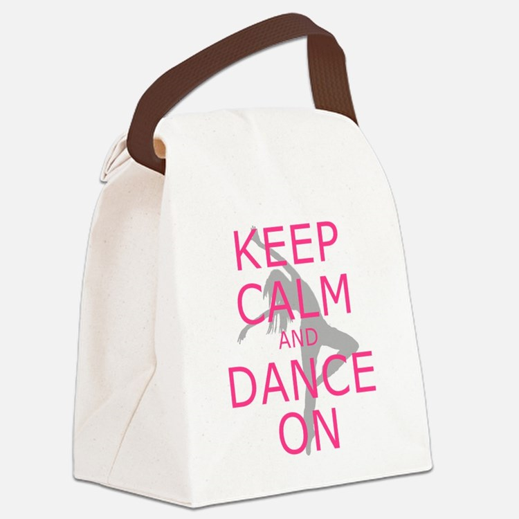 Modern Keep Calm and Dance On Canvas Lunch Bag