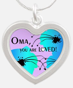 Oma Grandmother Silver Heart Necklace