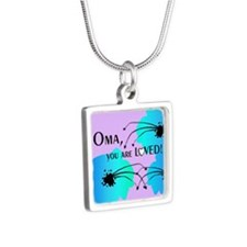 Oma Grandmother Silver Square Necklace