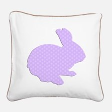 Purple Polka Dot Silhouette Easter Bunny Square Ca