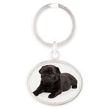 Black Pug Oval Keychain