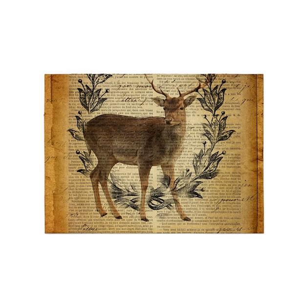 Rustic Rug Country: Rustic Deer Western Country Scripts 5'x7'Area Rug By