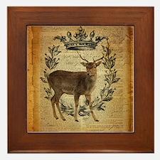 rustic deer western country scripts Framed Tile