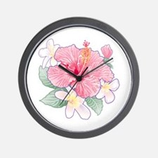 Hibiscus And Plumeria Wall Clock