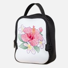 Hibiscus And Plumeria Neoprene Lunch Bag