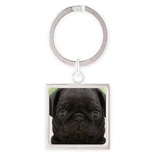 Black Pug Square Keychain