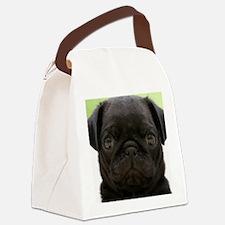 Black Pug Canvas Lunch Bag