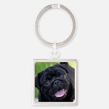Black Pug Square Keychain