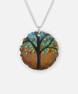 Tree of Many Colors Necklace Circle Charm