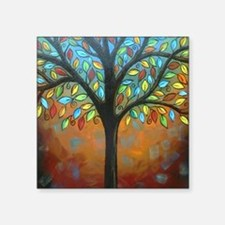 "Tree of Many Colors Square Sticker 3"" x 3"""