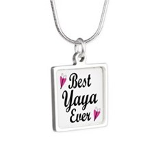 Best Yaya Ever Silver Square Necklace