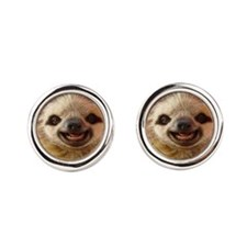 Smiling Sloth Round Cufflinks