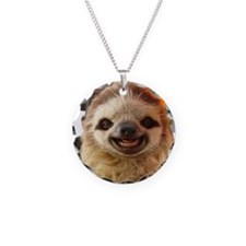 Smiling Sloth Necklace Circle Charm
