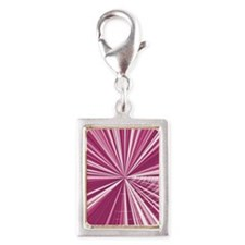 Pink Rays  Silver Portrait Charm
