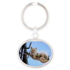 Cat on a Wire Oval Keychain