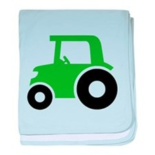 Green Tractor baby blanket