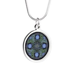 Celtic UFO Mandala Silver Round Necklace