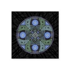 "Celtic UFO Mandala Square Sticker 3"" x 3"""