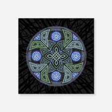"Celtic UFO Mandala Square Sticker 3"" x 3"""
