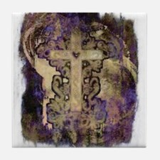 Grunge cross Tile Coaster