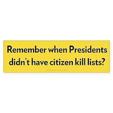 Presidential Kill Lists Bumper Car Sticker