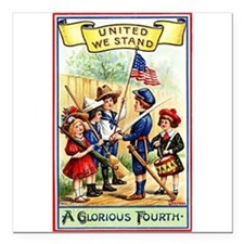 """4th of July United We Stand Square Car Magnet 3"""" x"""