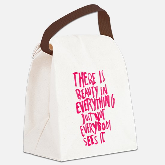 Beauty Quote Canvas Lunch Bag