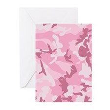 Pink Camouflage Pattern Print Greeting Cards