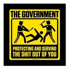 "Protecting And Serving Square Car Magnet 3"" x 3"""