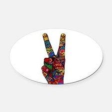 Make Peace Not War Oval Car Magnet