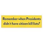 Presidential Kill Lists Bumper Sticker