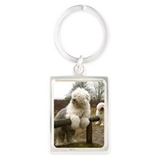 Old English Sheepdog Portrait Keychain