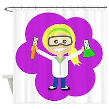 Scientist Girl Ponytail Shower Curtain