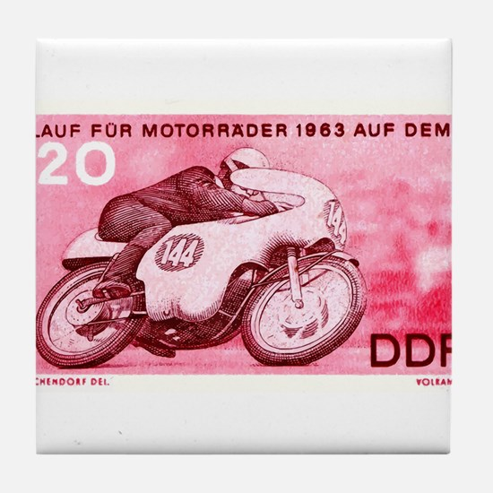 Vintage 1956 Germany Motorcycle Race Stamp Tile Co