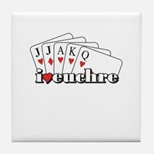 I Heart Euchre Tile Coaster