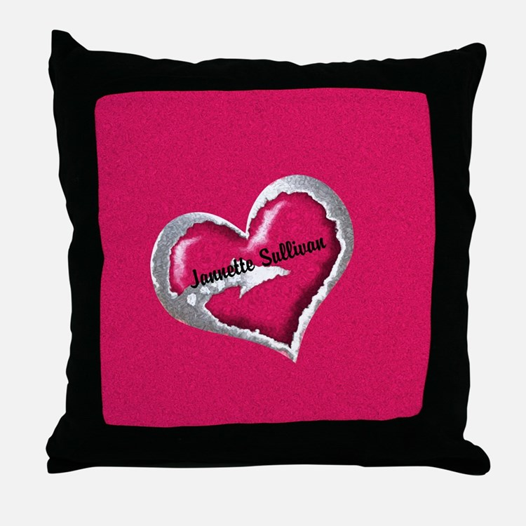 Personalized Heart Throw Pillow : Modern Bridal Shower Pillows, Modern Bridal Shower Throw Pillows & Decorative Couch Pillows