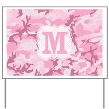 Monogram Pink Camouflage Yard Sign